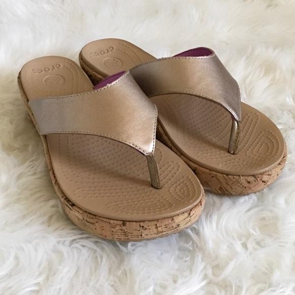 3e6a0b7a4 CROCS Shoes - NWOT CROCS Gold metallic wedge